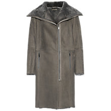 Buy Jaeger Long Sheepskin Coat, Dark Grey Online at johnlewis.com