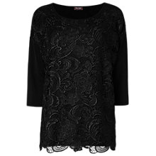 Buy Phase Eight Davinia Lace Mix Knitted Top, Black Online at johnlewis.com