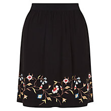 Buy Hobbs Ella Embroidered Skirt, Black Online at johnlewis.com