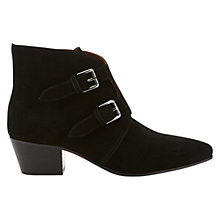 Buy Jigsaw Lou Lou Leather Ankle Boots, Black Online at johnlewis.com