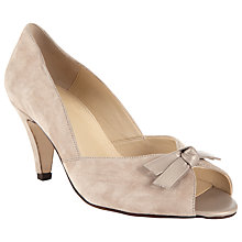 Buy John Lewis Made in England Wide Fit Heydon Suede Peep Toe Court Shoes, Natural Online at johnlewis.com
