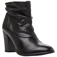Buy Dune Ninah Leather Slouchy Fur Lined Ankle Boots, Black Online at johnlewis.com