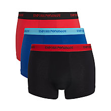 Buy Emporio Armani Stretch Cotton Trunks, Pack of 3, Red/Blue/Black Online at johnlewis.com