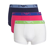 Buy Emporio Armani Stretch Cotton Trunks, Pack of 3, Navy/Pink/White Online at johnlewis.com