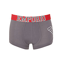 Buy Emporio Armani Eagle Logo Stretch Cotton Trunks, Grey Online at johnlewis.com