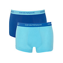 Buy Emporio Armani Stretch Cotton Trunks, Pack of 2, Turquoise/Blue Online at johnlewis.com