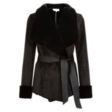 Buy Hobbs Irah Faux Fur Shearling Jacket, Black Online at johnlewis.com
