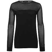 Buy Jaeger Sheer Panel Knit Sweater, Black Online at johnlewis.com