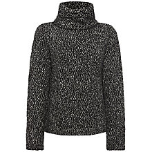 Buy Jaeger Knit Cowl Neck Sweater, Black / White Online at johnlewis.com
