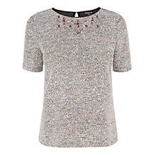 Buy Warehouse Boucle Embellished Neck Top, Light Pink Online at johnlewis.com