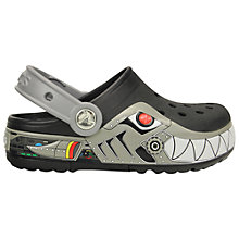 Buy Crocs Children's Lights Robo Shark Sandals, Black/Silver Online at johnlewis.com