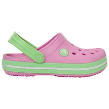 Buy Crocs Children's Crocband Glow Sandals, Carnation Pink/Green Online at johnlewis.com
