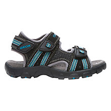 Buy Geox Strada Twin Rip-Tape Sandals, Black/Blue Online at johnlewis.com