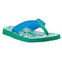 Buy John Lewis Hawaiian Floral Flip Flops, Green/White Online at johnlewis.com
