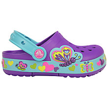 Buy Crocs Children's Lights Butterfly Clogs, Purple/Turquoise Online at johnlewis.com