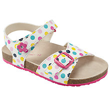 Buy John Lewis Gaby Spotty Buckeld Sandals, White Online at johnlewis.com