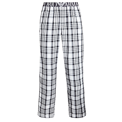 Emporio Armani Check Lounge Pants, Black/White