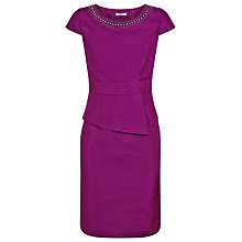 Buy Precis Petite Embellished Peplum Dress, Berry Online at johnlewis.com