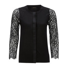 Buy Jaeger Lace Sleeve Cardigan, Black Online at johnlewis.com