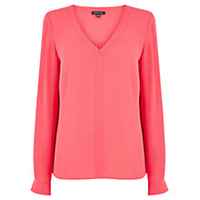 Buy Warehouse Tab Sleeve Top, Bright Pink Online at johnlewis.com