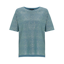 Buy Warehouse Metallic Textured Tee, Bright Green Online at johnlewis.com