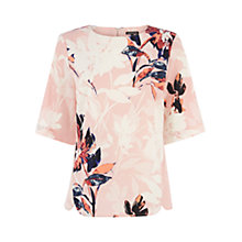 Buy Warehouse Placement Floral Top, Bright Pink Online at johnlewis.com