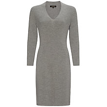 Buy Jaeger Merino V Neck Dress, Light Grey Melange Online at johnlewis.com