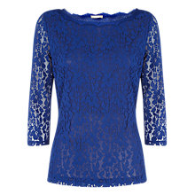 Buy Planet Scallop Lace Jersey Top, Cobalt Online at johnlewis.com