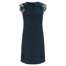 Buy Warehouse Jacquard Lace Shoulder Dress, Dark Green Online at johnlewis.com