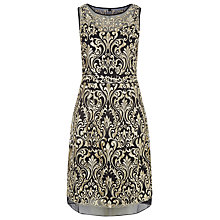 Buy Kaliko Embroidered Silk Dress, Black / Gold Online at johnlewis.com