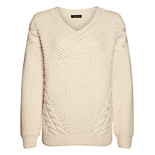 Buy Jaeger Heavy Gauge Cable Knit Sweater, Ivory Online at johnlewis.com