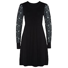 Buy Kaliko Lace Sleeve Knitted Dress, Black Online at johnlewis.com