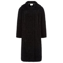 Buy Jacques Vert Astrakhan Mid Length Coat, Black Online at johnlewis.com