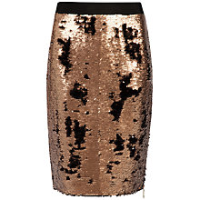 Buy Ted Baker Zip Detailed Sequin Skirt, Bronze Online at johnlewis.com