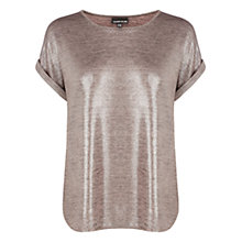 Buy Warehouse Metallic Glitter Tee, Light Pink Online at johnlewis.com