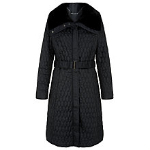 Buy Kaliko Jacquard Belted Coat, Black Online at johnlewis.com