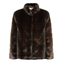 Buy Jacques Vert Faux Fur Short Coat, Chocolate Online at johnlewis.com