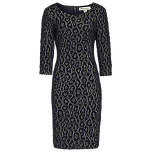 Buy Reiss 1971 Houston Textured Leopard Print Dress, Navy/Gold Online at johnlewis.com