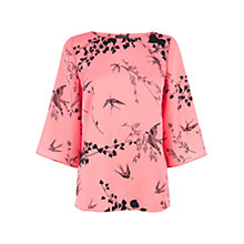 Buy Warehouse Oriental Bird Top, Pink Pattern Online at johnlewis.com