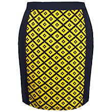 Buy Paisie Diamond Pattern Skirt, Yellow/Navy Online at johnlewis.com