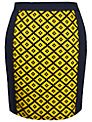 Paisie Diamond Pattern Skirt, Yellow/Navy