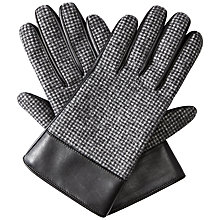 Buy Jaeger Leather Puppytooth Gloves, Black Online at johnlewis.com