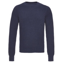 Buy Jaeger Double Tuck Merino Wool Jumper, Navy Online at johnlewis.com