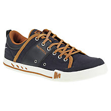 Buy Merrell Rant Canvas and Leather Lace-Up Trainers, Navy/Bering Sea Online at johnlewis.com