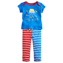 Buy Little Joule Boys' Doodle Octopus Applique Set, Blue/Red Online at johnlewis.com