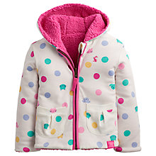 Buy Baby Joule Reversible Fleece Hooded Jacket, Cream/Pink Online at johnlewis.com