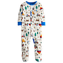 Buy Little Joule Boys' Ziggy Farm Print Sleepsuit, Cream/Multi Online at johnlewis.com