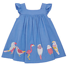 Buy John Lewis Baby Bird Applique Linen Mix Dress, Blue Online at johnlewis.com