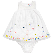 Buy John Lewis Baby's Goose Embellished Bodysuit Dress, White Online at johnlewis.com