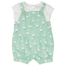 Buy John Lewis Goose Print Bibshort Dungarees & T-Shirt Set, Green/White Online at johnlewis.com